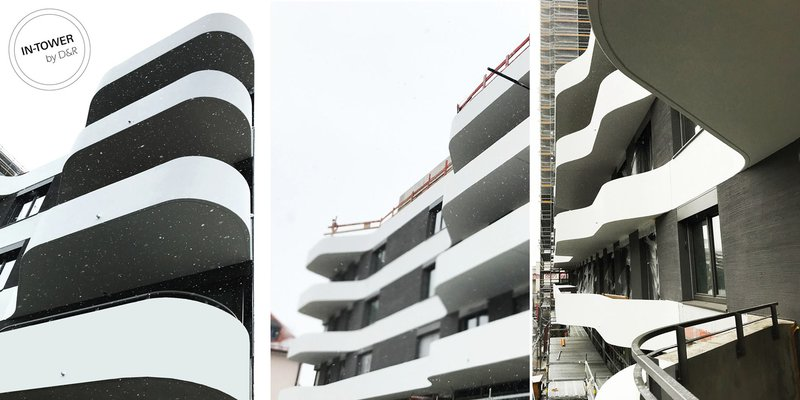 IN-Tower: Balconies twining around the apartments give this housing tower its characteristic look. Visualization: ATP