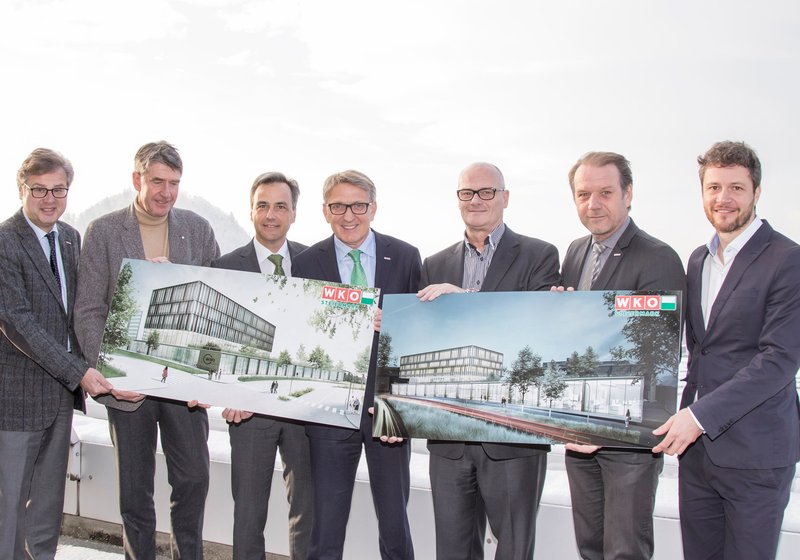 WKO Director Karl-Heinz Dernoscheg, ATP CEO Christoph M. Achammer, Mayor Siegfried Nagl, WKO President Josef Herk, WKO Vice President Benedikt Bittmann and Andreas Herz, and Paul Ohnmacht, Head of Design ATP Innsbruck (from left). Photo: Fischer