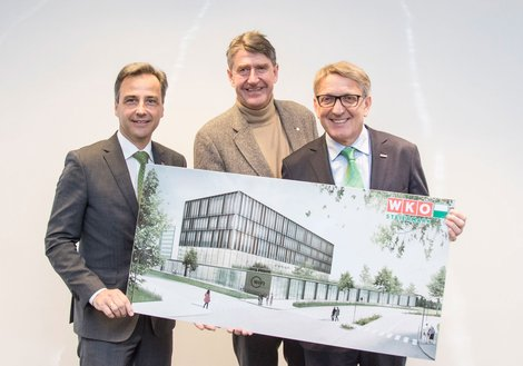 WKO President Josef Herk, ATP CEO Christoph M. Achammer and Mayor Siegfried Nagl present the winning design. Photo: Fischer